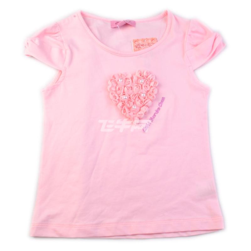 樱桃小丸子童装 女童可爱立体心型t恤 cg21a034 浅粉