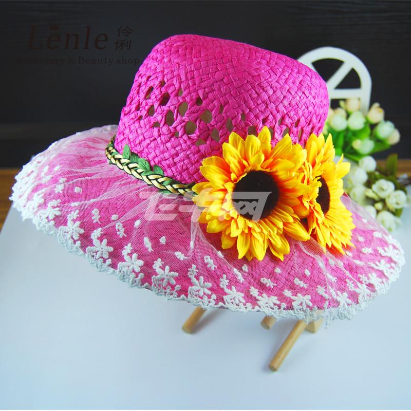 伶俐 手工编织太阳帽草帽沙滩帽大沿帽 儿童凉帽蕾丝遮阳帽 玫红色