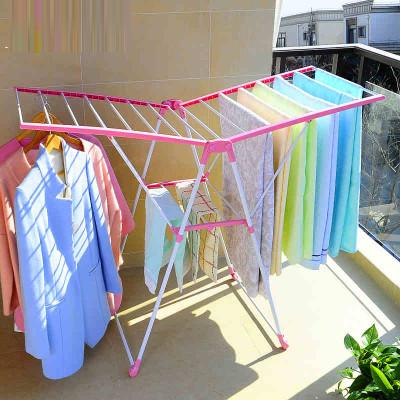 宝优妮韩式晾衣架落地折叠简易小翼型阳台晾衣服晒衣架室外凉衣架
