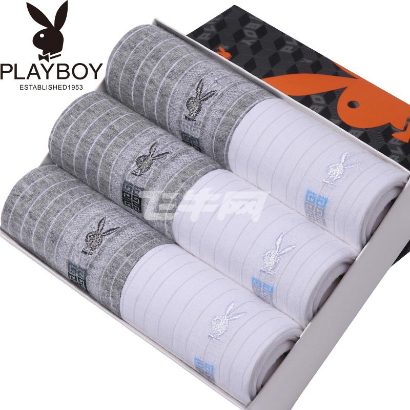 白袜子少爷-花花公子PLAYBOY 全棉条纹商务休闲男袜 6双礼盒装 2912 6 白色3浅图片