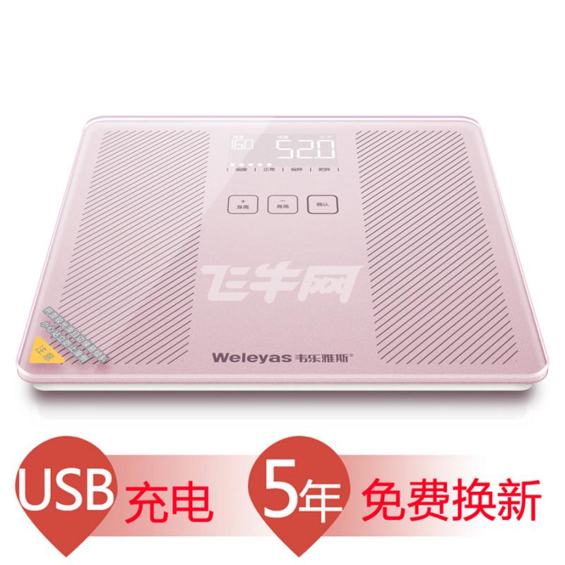 韦乐雅斯(weleyas) 电子秤体重秤电子称USB充电智能秤 B210(玫瑰金) 玫瑰金图片