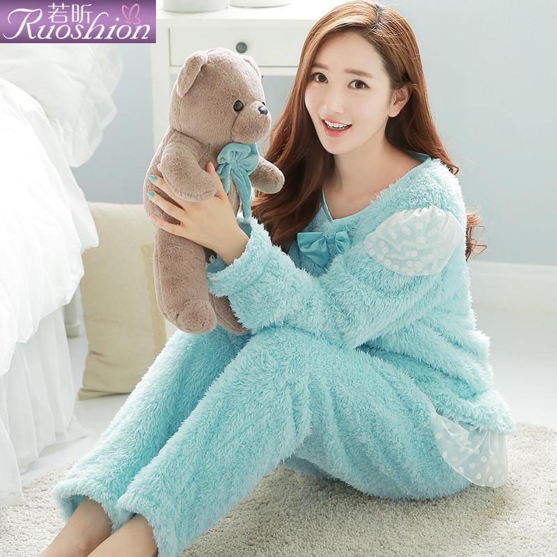 睡衣女秋冬珊瑚绒甜美可爱女人睡衣法兰绒可外