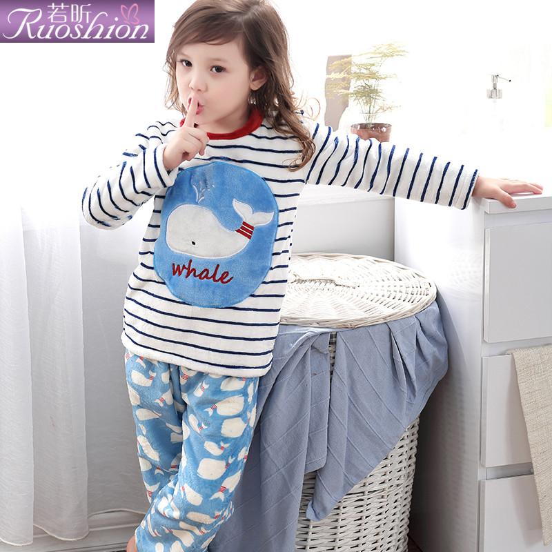 绒卡通可爱宝贝睡衣法兰绒家居服套装