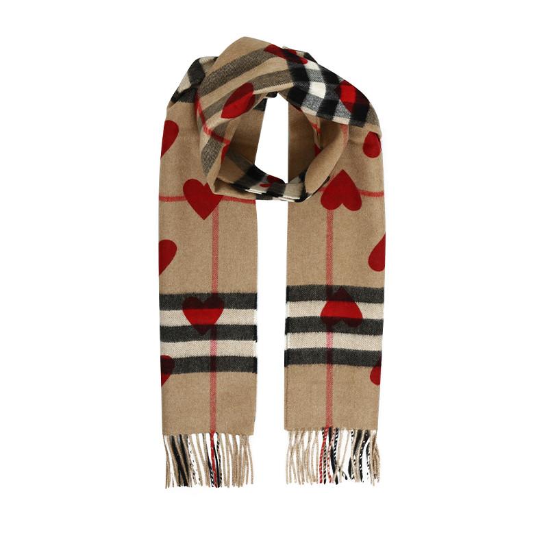 巴宝莉 burberry heart 羊绒围巾 心形图案格纹 168x30 3993750图片
