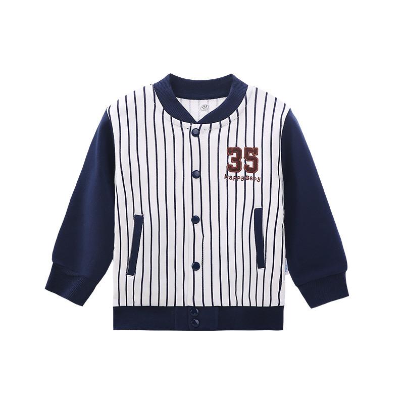 南极人 儿童外套春装女童条纹上衣男童棒球服宝宝春季