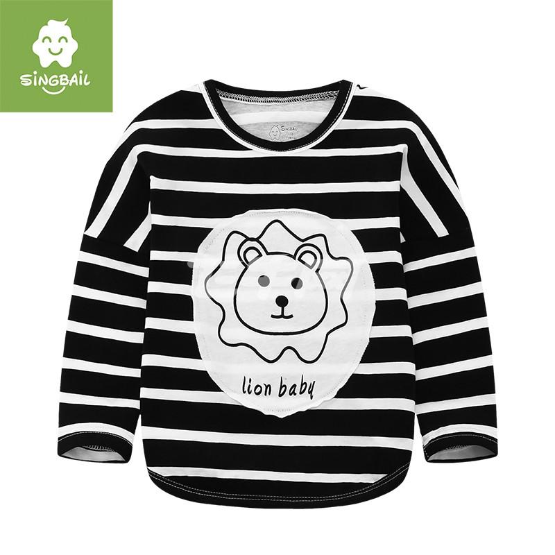 童装儿童长袖t恤婴儿上衣男童女童条纹t恤春季新品打底衫 t0767 黑白