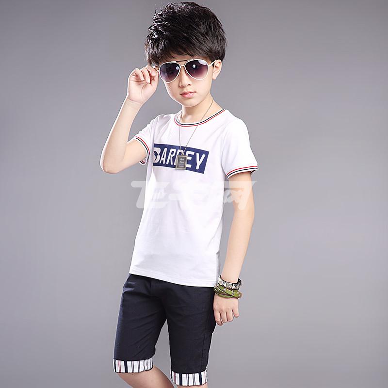 拓秀 男童夏装新款圆领海豚字母印花短袖t恤中裤两件套装 xt055 白色