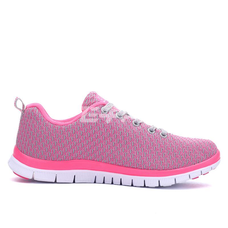贝哥 新款女士运动鞋 飞织鞋面透气舒适慢跑鞋 轻便旅游鞋 7951 灰梅