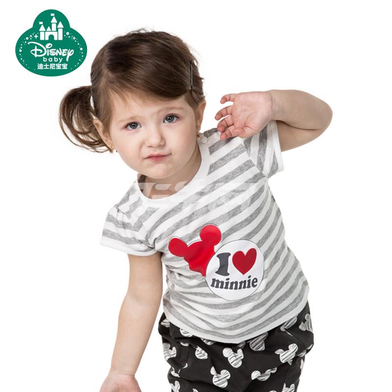 迪士尼宝宝 女童短袖套装夏 儿童夏装女童宝宝运动短袖t恤套装迪 白底
