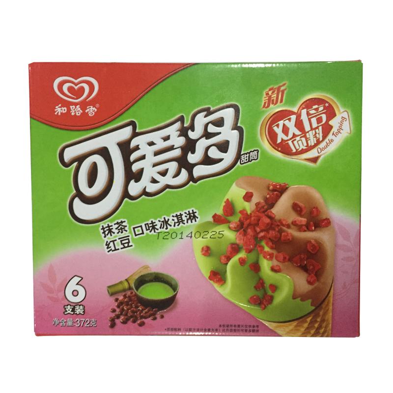 可爱多 甜筒抹茶红豆口味冰淇淋多支装 372g/盒