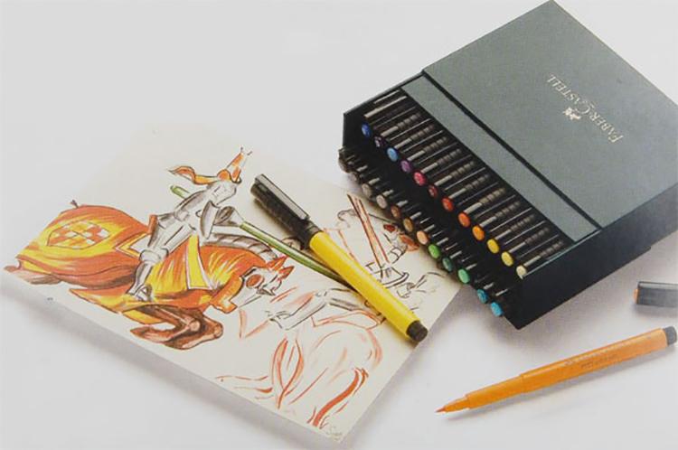 辉柏嘉 绘图马克笔24色混装167147水性马克笔涂色笔 动漫手绘软头水彩