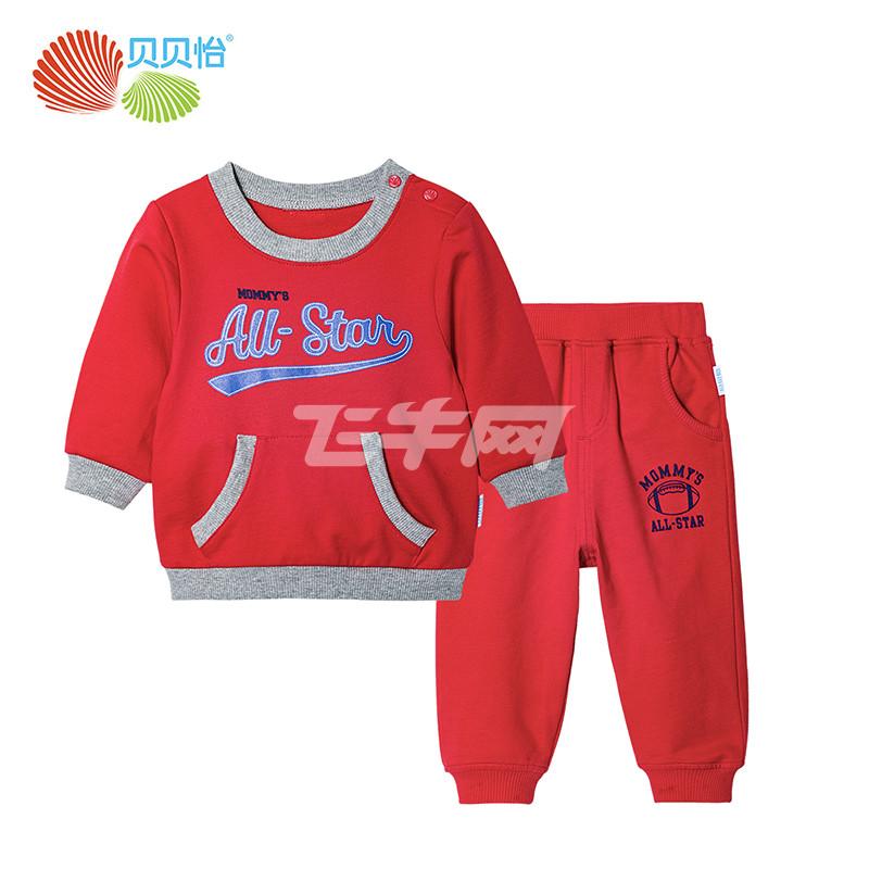 贝贝怡宝宝秋装新款套装儿童卫衣裤子2件套春秋季童装173T099 大红 图片