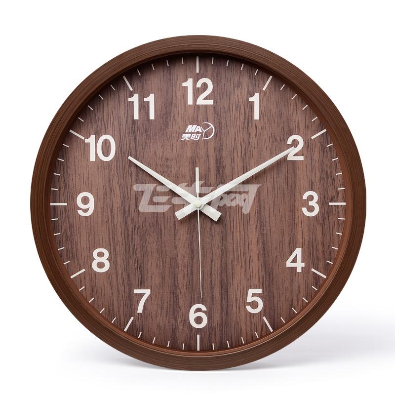 美时 挂钟客厅静音复古时钟卧室圆形数字仿木挂表现代