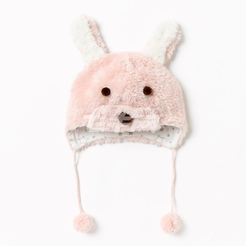 麦拉贝拉 宝宝秋冬保暖珊瑚绒立体可爱小动物毛绒帽 mz64001 浅粉色 m