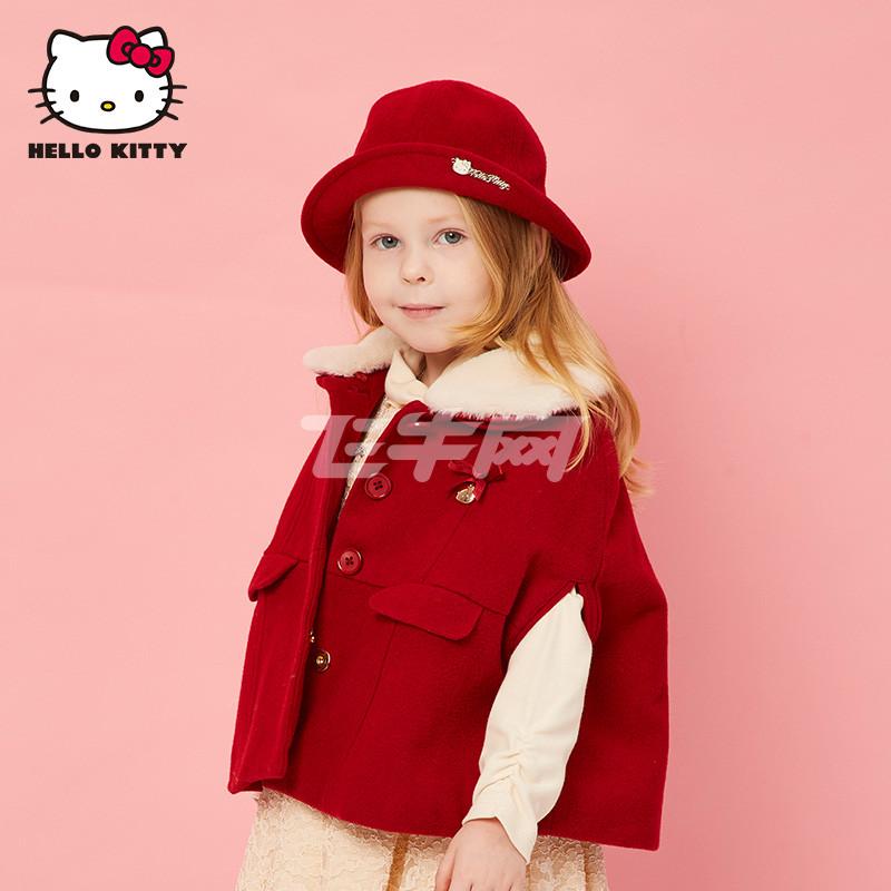 helokitty 童装儿童保暖帽子秋冬款 小女童名媛礼帽婴儿毛呢盆帽 大